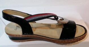 Ara – Crunchlack Sandal – Black Patent