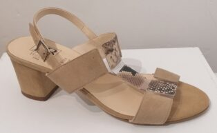 HB Italia – Giappone Suede and Snakeprint Sandal – Biege