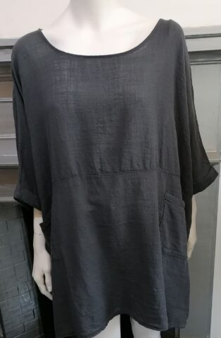 Diverse – Hattie 2 Pocket Linen Tunic –  Charcoal Grey