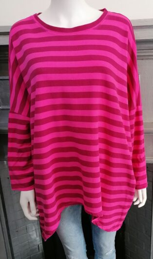 Diverse – Harriet Stripe Tunic – Fuschia and Raspberry Mix