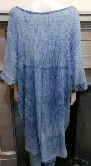 Diverse – Hayley Crinkle Long Batwing Tunic – Blue Denimn Wash