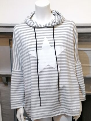 Diverse – Haidee Hooded Star Sweat – Grey and White Stripes