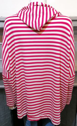 Diverse – Haidee Hooded Star Sweat – Fuschia and White Stripes