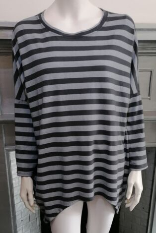 Diverse – Harriet Stripe Tunic – Light and Dark Grey Mix  of colour