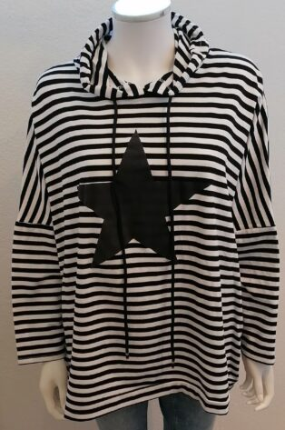 Diverse – Haidee Hooded Star Sweat – Black and White