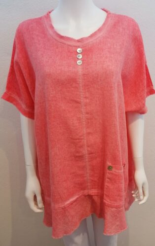 Diverse – Ina 3 Button Linen Tunic – Light Coral