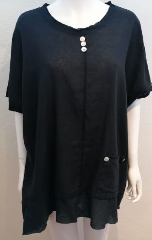Diverse – Ina 3 Button Linen Tunic – Black
