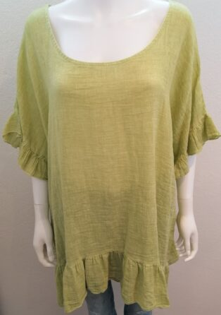 Diverse – Iona Linen Frill Top – Lime