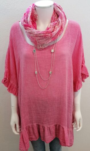 Diverse – Iona Linen Frill Top – Pink
