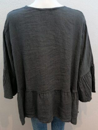 Diverse – Isha Button Through Linen Jacket – Grey