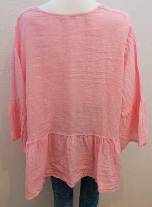 Diverse – Isha Button Through Linen Jacket – Pink